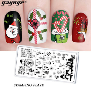 YAYOGE Christmas Stamping Plate Santa Claus ELK Snowman Snowflake Christmas Tree - YAYOGE Official