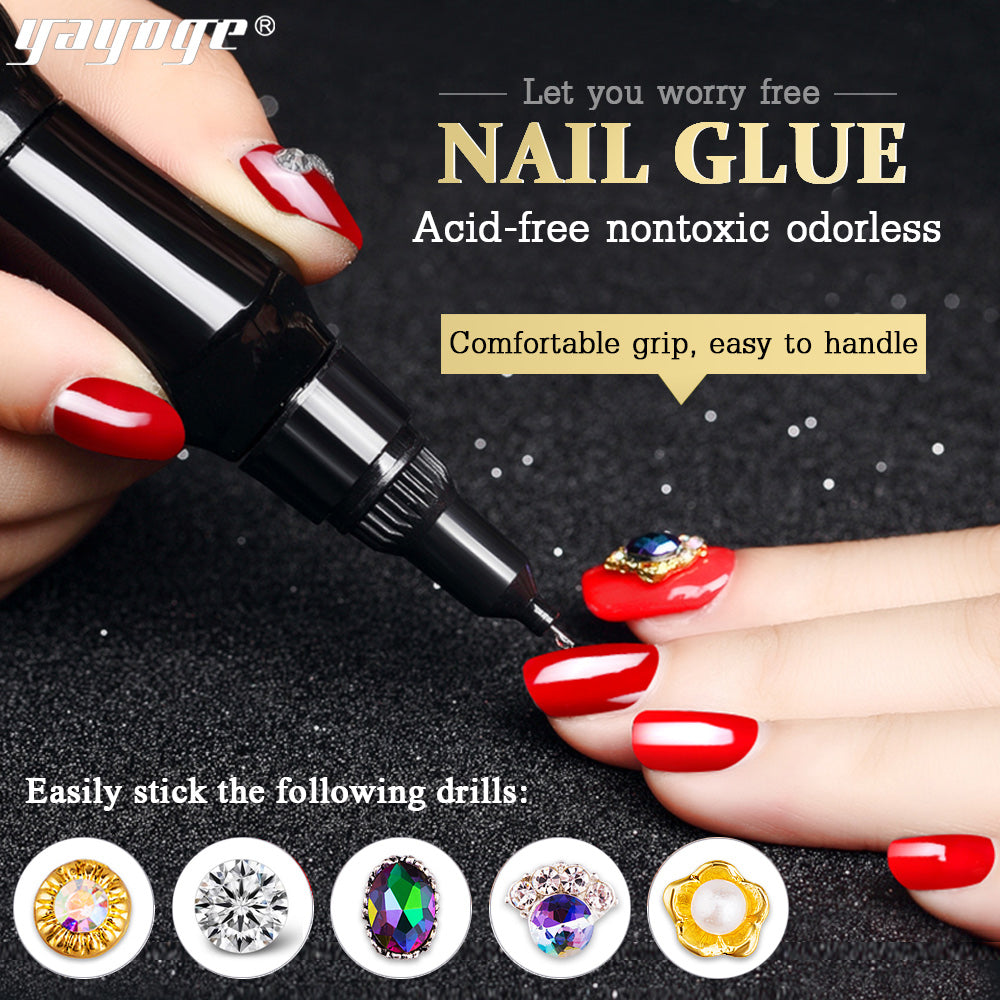 YAYOGE 12ml Super Sticky Nail Glue Acrylic UV Adhesive Nail Decoration Glue Nail Art Manicure Tool - YAYOGE Official