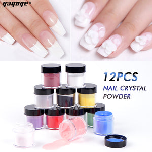 YAYOGE 12Colors/Set Acrylic Nail Powder Crystal Powders Nail Extension Quick Dry Nail Polymer Builder - YAYOGE Official