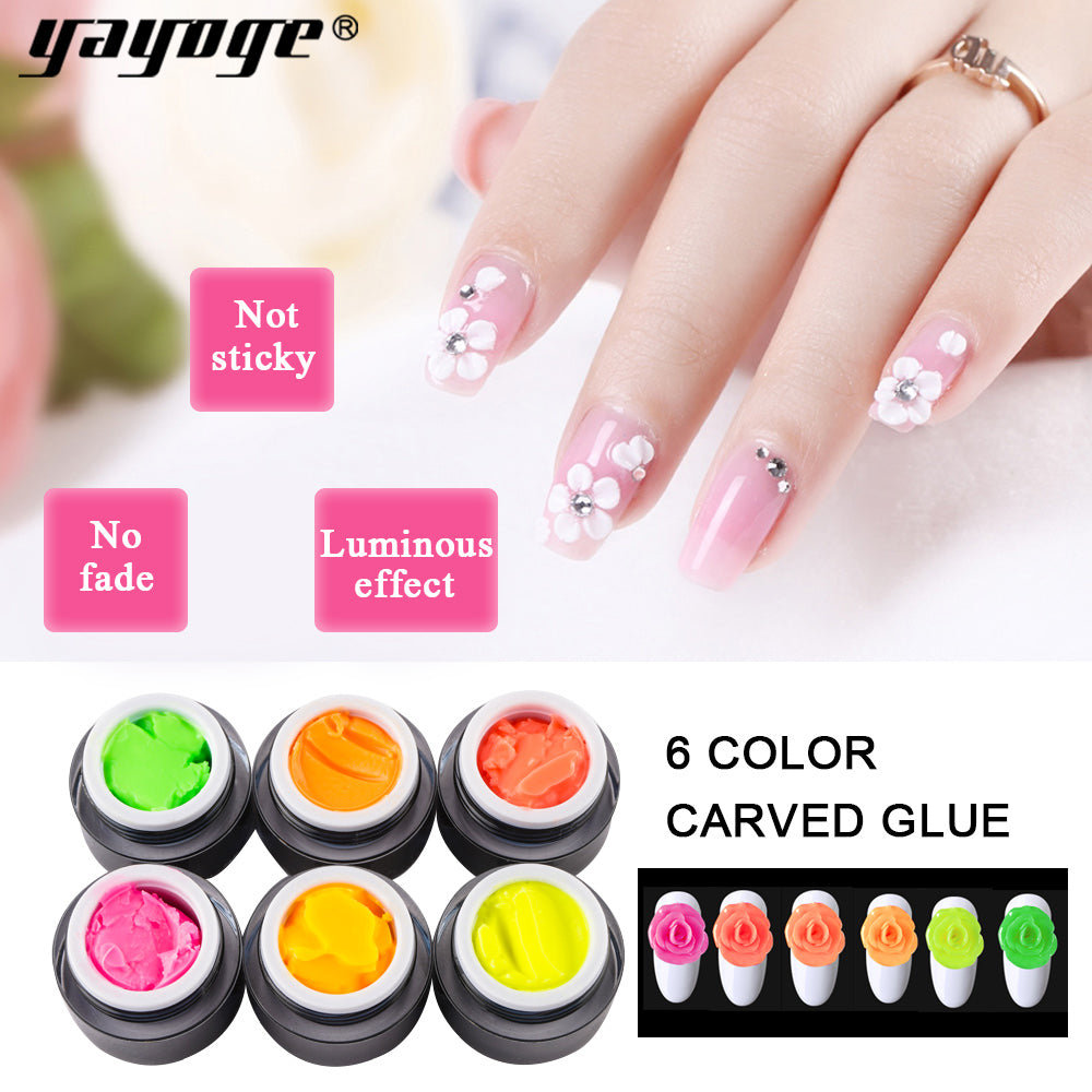 YAYOGE 6Colors 3D Luminous Sculpture Gel Nail Carved Gel Acrylic UV Nail Gel Nail Art DIY Decoration Tip Gel - YAYOGE Official