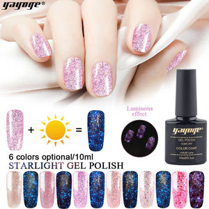 YAYOGE 10ml Luminous Gel Polish Starry Glitter Gel Varnish Nail Lacquer Fluorescent Gel Enamel - YAYOGE Official
