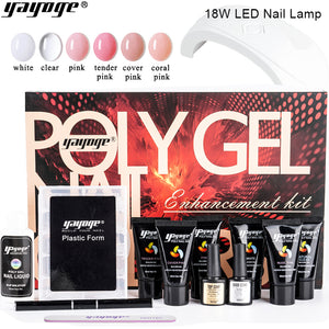 YAYOGE 12Pcs/Set Polygel Gift Box Kit + 18W Nail UV LED Lamp - YAYOGE Official