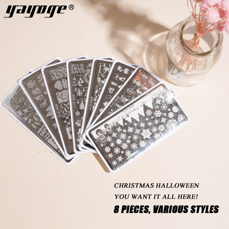 YAYOGE Stamping Plate Templates Cartoon Christmas Santa Claus ELK Snowman Snowflake Christmas Tree Nail DIY Plate - YAYOGE Official