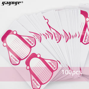 YAYOGE 100Pcs/Set Adhesive Nail Forms Polygel Builder Gel Nail Art Guide Form DIY Tool - YAYOGE Official