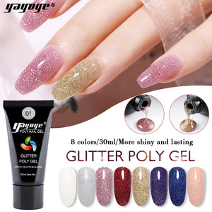 YAYOGE 30ml Glitter Polygel UV LED Quick Builder Nail Extension Gel Nail Art DIY