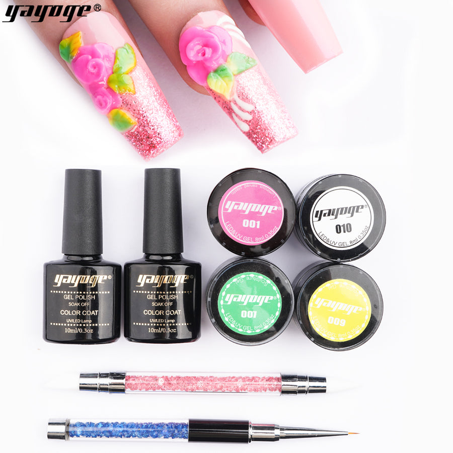 4 Colors Sculpture Nail Gel 3D Carved Gel Kit DH