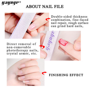 YAYOGE 1/5/10Pcs/Set 100/180 Double-Sided Sand Polishing Nail File For Nail Art Manicure Styling Tool - YAYOGE Official