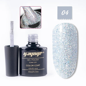YAYOGE 8Colors 10ml UV LED Holographic Glitter Rainbow Neon Nail Gel Soak Off Gel Lacquer - YAYOGE Official