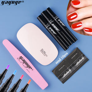 YAYOGE 3In1 6Pcs/Set Nail Gel Polish Pen UV LED No Need Base Coat One Step Gel - YAYOGE Official