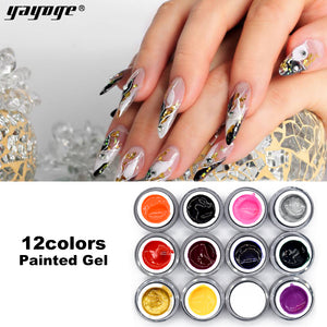 US WAREHOUSE YAYOGE 12Colors Nail Painted Gel Soak Off Long-Lasting UV LED Gel Polish Nail Salon - YAYOGE Official