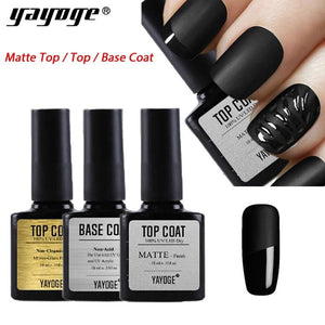 UK WAREHOUSE YAYOGE 10ml UV LED Non Cleansing Top Base Coat Matte Top Bonder Primer - YAYOGE Official