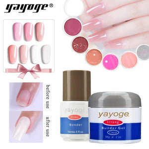 YAYOGE Nail Art Builder + Base Coat Bonder Series 1 UV LED Opal Jelly Quick Builder Extension Nail Art DIY - YAYOGE Official