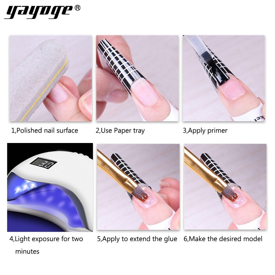 YAYOGE 56g Nail Gel Builder + 20Pcs Double U-shaped Nail Form + Nail Gel Brush Set For Nail Extension Tool - YAYOGE Official