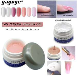 YAYOGE Builder Gel UV LED Nail Quick Extension Gel Pink Clear White True Nail Looks Nail Salon Art DIY - YAYOGE Official