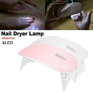 US WAREHOUSE Mini White/Pink USB 6 LED Pocket Nail Gel Dryer Lamp - YAYOGE Official