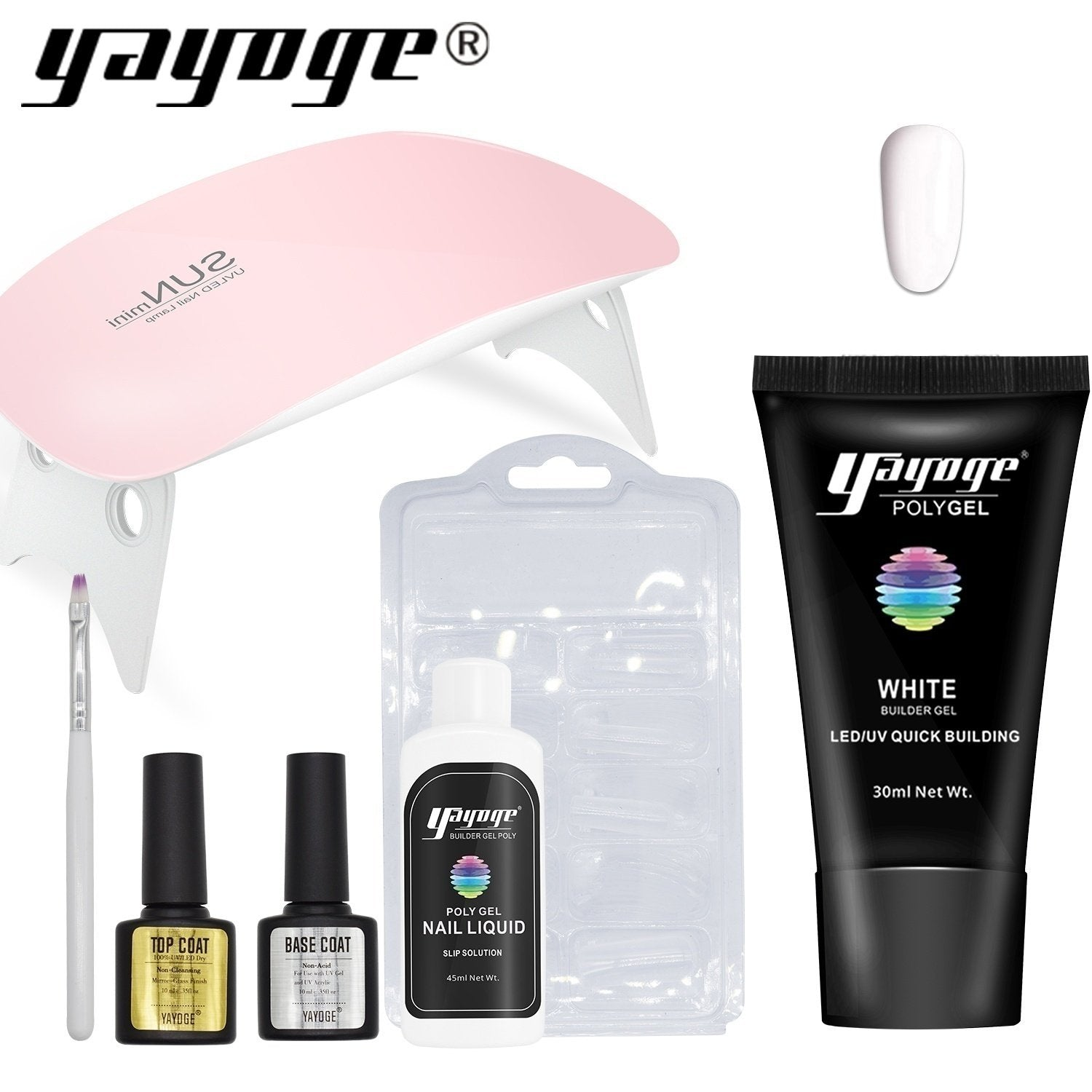US WAREHOUSE YAYOGE 7Pcs/Set PolyGel Set Quick Builder Gel Nail Extension LED Lamp Kit - YAYOGE Official