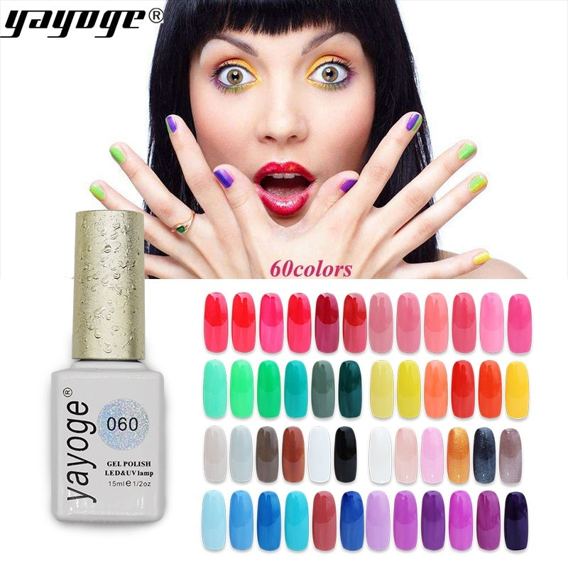YAYOGE 60Colors 15ml Nail Gel Polish Pure Color Glitter Soak Off UV LED Gel Lacquer Nail Art DIY - YAYOGE Official