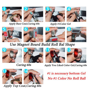 YAYOGE 2Pcs/Set 6Colors UV LED Magnetic Roll Ball Cat Eye Gel Polish (Grey is neccesary as base gel) - YAYOGE Official