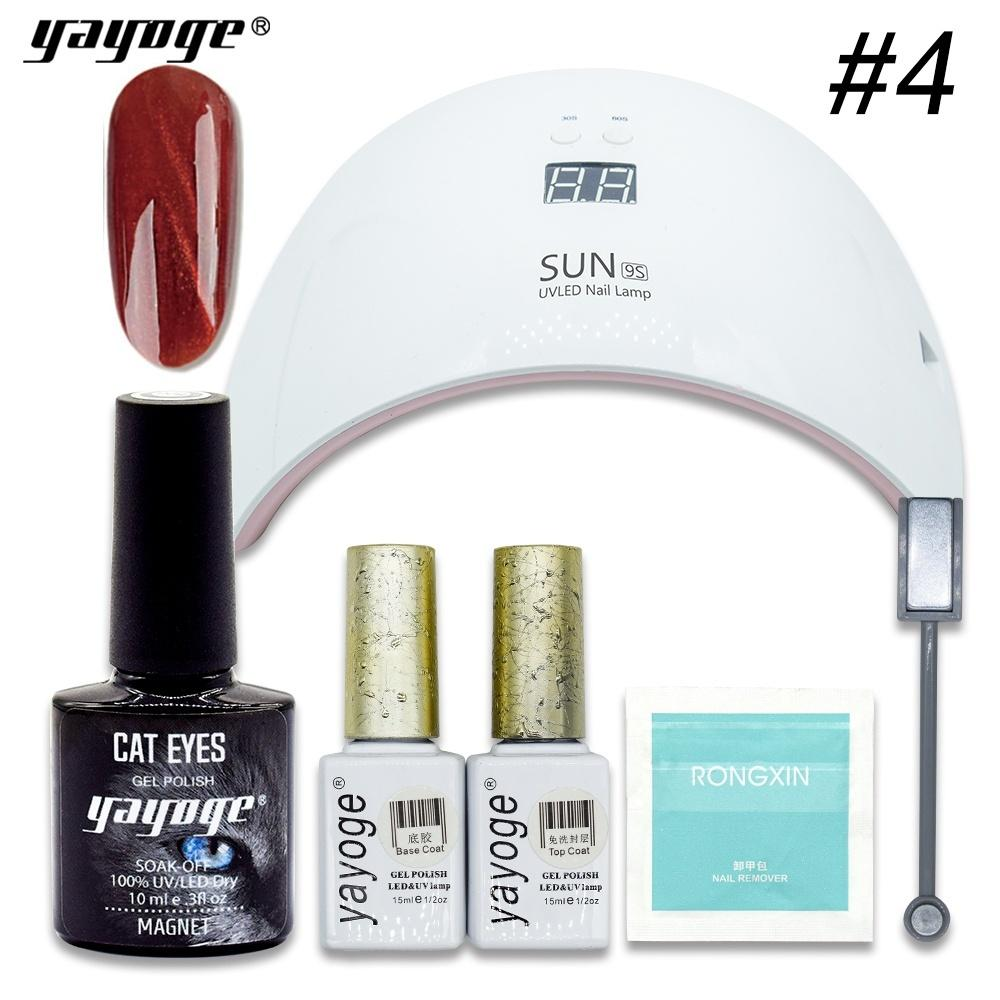 Yayoge 6pcs Set Magnetic Wine Red Cat Eye Gel Polish Set Soak Off