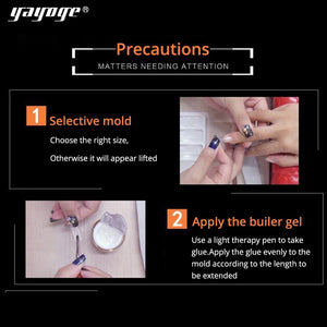 YAYOGE 100Pcs/Set Transparent Extending Full False Nail Tips For Polygel Nail Extension Art DIY Tool - YAYOGE Official