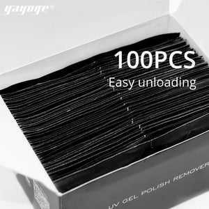 YAYOGE 100Pcs/Box Nail Gel Polish Remover Nail Wrap Pads Nail Art Removal Tool - YAYOGE Official