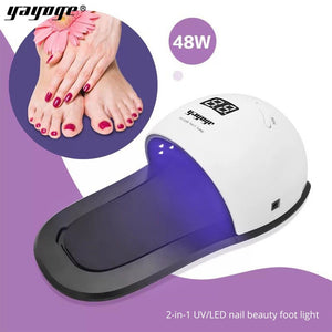 YAYOGE Double Light Mode 48W UV LED Detachable Finger/Toe Slipper Lamp Dryer Nail Art Manicure Tool - YAYOGE Official