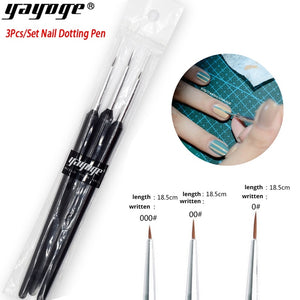 YAYOGE 3Pcs/Set Nail Gel Painting Dotting Drawing Design Pen Brush Nail Art DIY Tool - YAYOGE Official