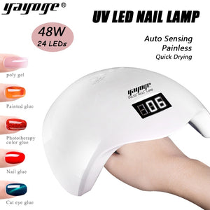 YAYOGE 2in1 48W 24LEDs Nail Lamp Dryer UV LED Nail Gel Polygel Quick Dryer Light Nail Art DIY - YAYOGE Official
