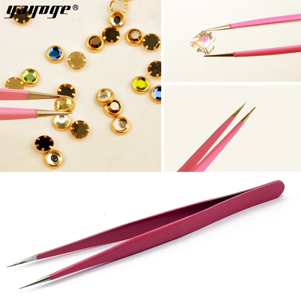 YAYOGE Humanized Straight/Elbow Head Anti-Static Stainless Steel Nail Art Tweezer Manicure DIY Tool - YAYOGE Official