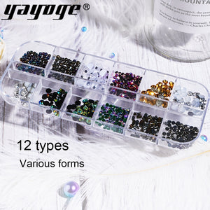 15Types 2mm Nail Art Rhinestone Glitter Circle Beads Flat-back UV Gel 3D Gems Nail Art Decorations - YAYOGE Official