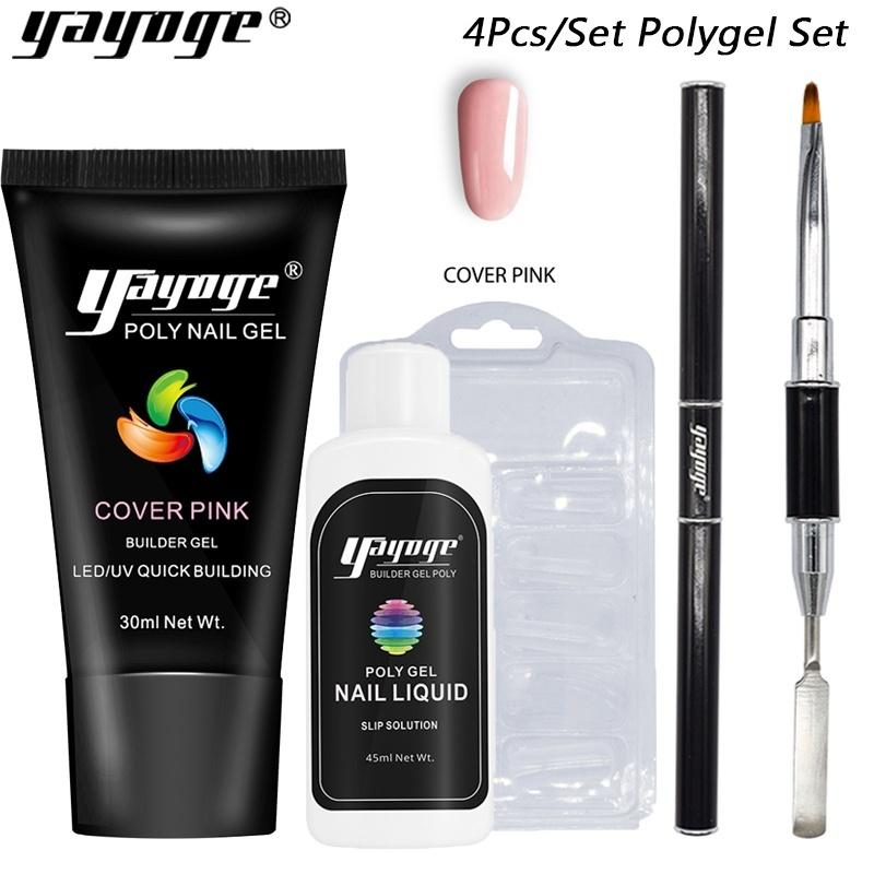 UK WAREHOUSE YAYOGE 4Pcs/Set 30ml Polygel UV LED Nail Builder Kit - No Base & Top Coat - YAYOGE Official