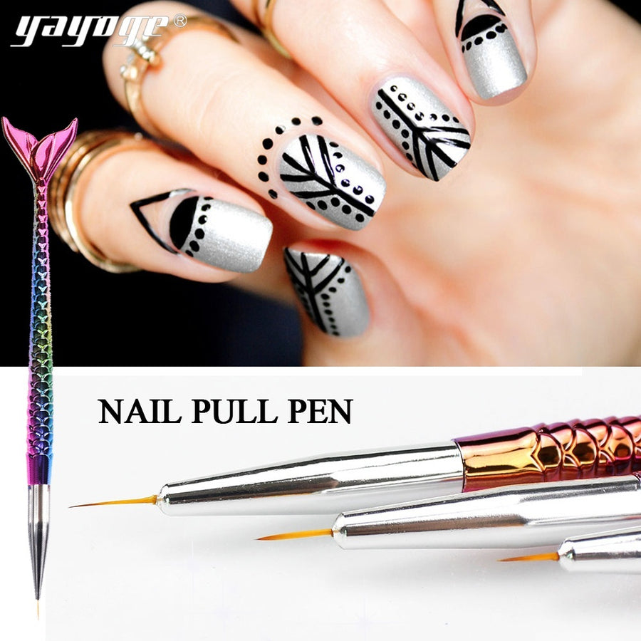 YAYOGE 3Pcs/Set Nail Art Dye Painting Brush Dotting Pen Colorful Drawing Flower Brush Nail Kit - YAYOGE Official