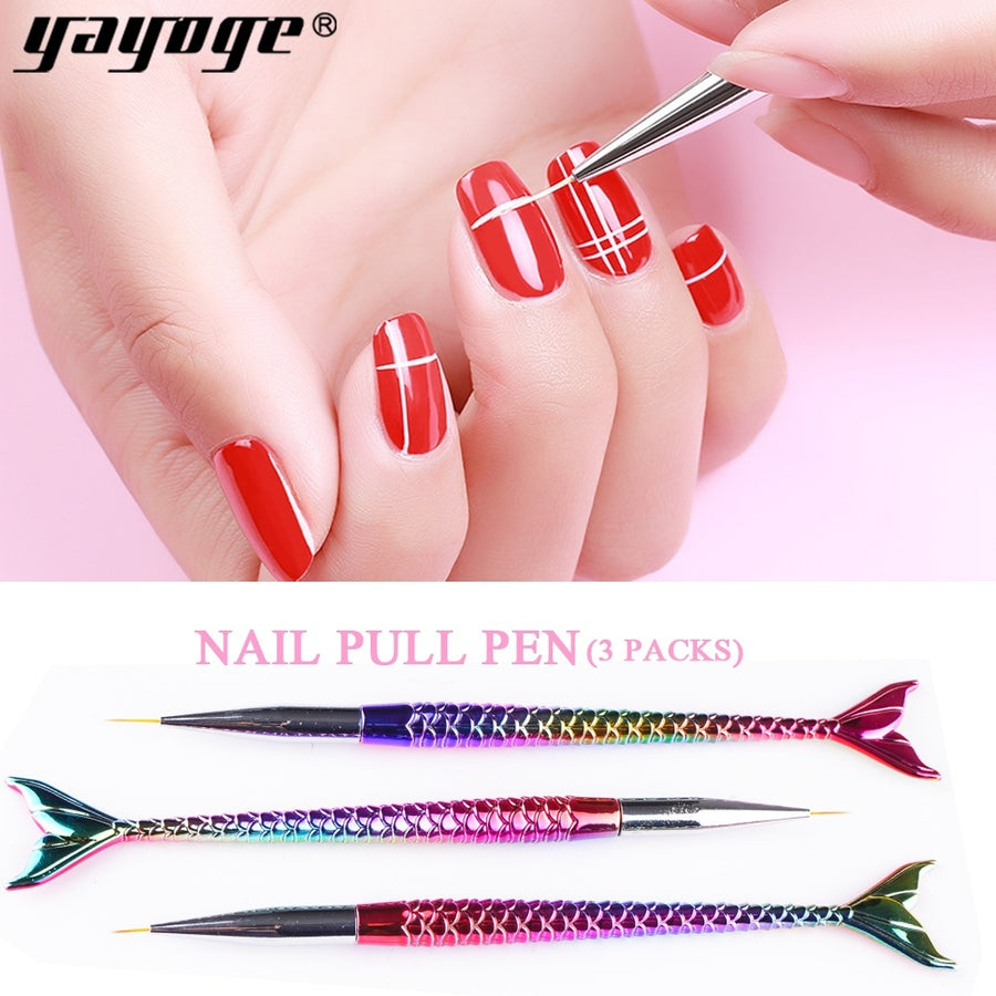 3 Pcs/Set Nail Art Dye Painting Brush Dotting Pen Colorful Drawing Flower Brush
