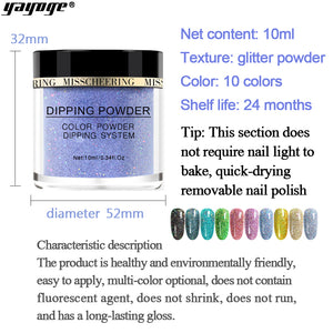 YAYOGE 10Colors Selectable Glitter Dipping Powder Natural Dry Dip Powder Nail Beauty - YAYOGE Official