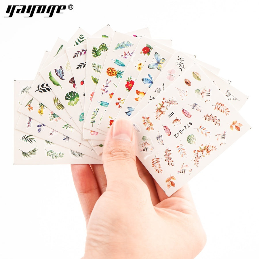 YAYOGE 12Pcs/Set Nail Sticker Leaf Pattern Flamingo Water Transfer Slider For Nails Art Decor - YAYOGE Official