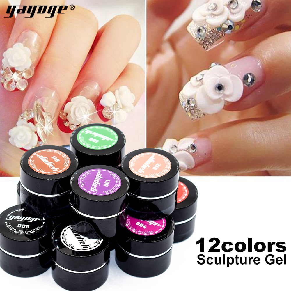 YAYOGE 12Colors Sculpture Nail Gel 3D Carved UV LED Gel Creative DIY Nail Art Gel - YAYOGE Official