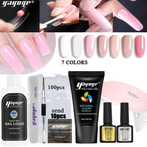 US WAREHOUSE YAYOGE 9Pcs/set Polygel Set Quick Builder UV LED Nail Extension Trial Kit - YAYOGE Official