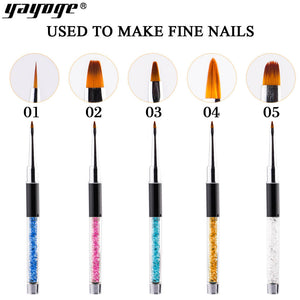 YAYOGE 5Size Rhinestone Handle Nail Art Engraving Painting Sculpture Brush Pen Flower Line Grid French Nail DIY Salon Tool - YAYOGE Official