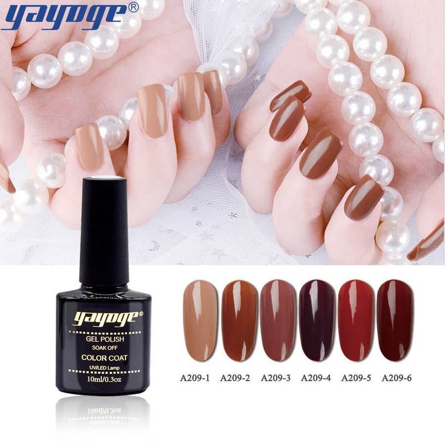 6 Colors Caramel Series UV LED Gel Nail Polish Soak Off(10ml)