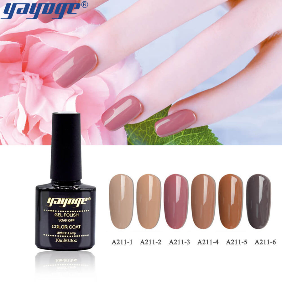 6 Colors Peruvian Brown Series Gel Nail Polish UV LED Soak Off(10ml)