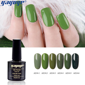 YAYOGE 6Colors Olive Green Series UV LED Gel Nail Polish Semi Permanent Soak Off Varnish Nail Art Gel - YAYOGE Official