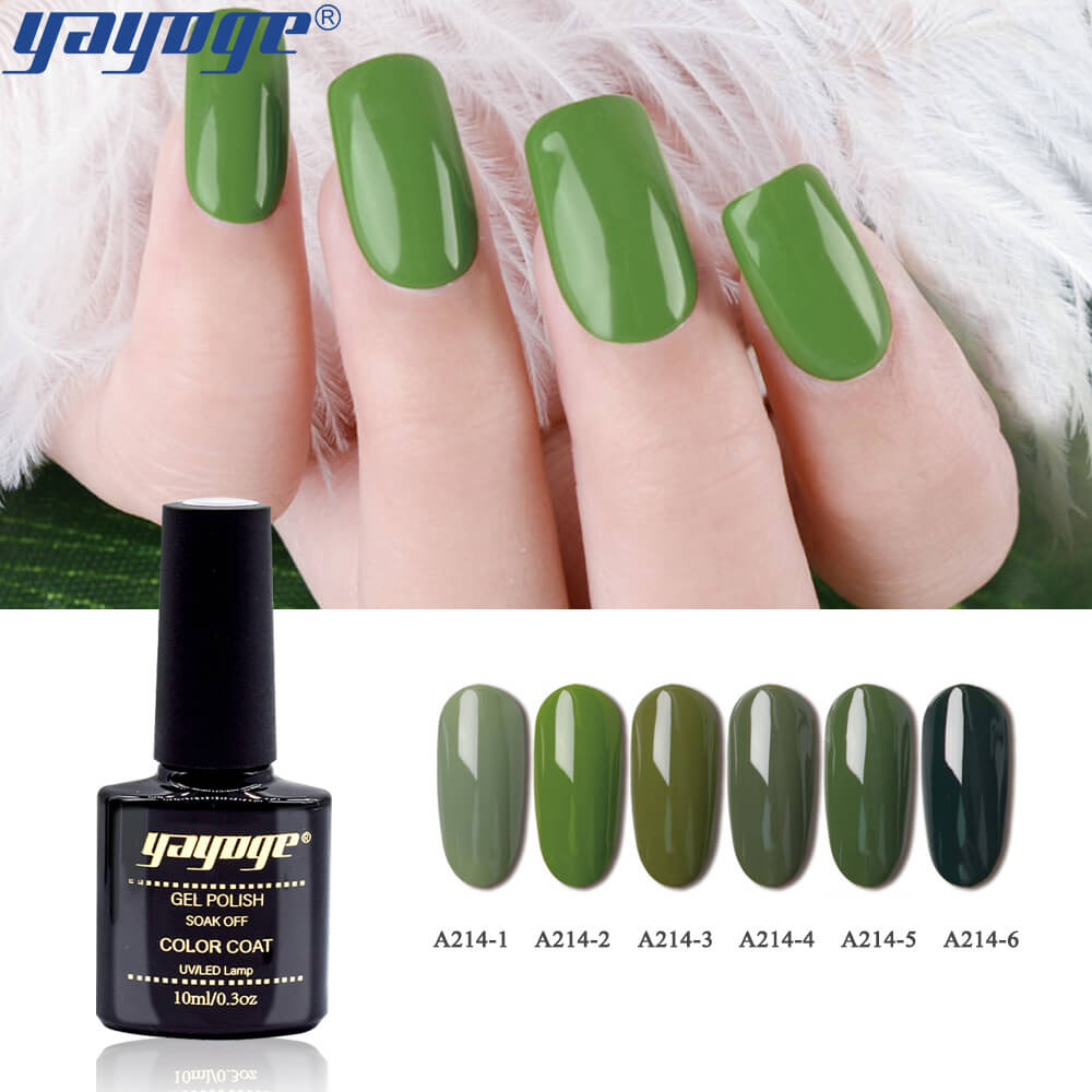 US WAREHOUSE YAYOGE 6Colors/Set Olive Green Series Thick UV LED Gel Nail Polish Soak Off Nail Art Gel Set - YAYOGE Official