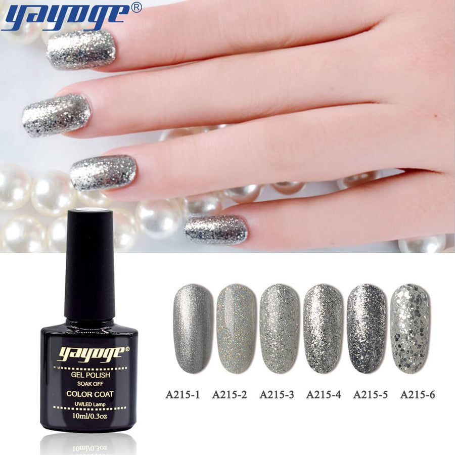 6 Colors Silver Diamond Series Gel Polish UV LED Soak Off(10ml)