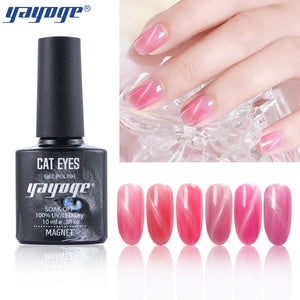 YAYOGE Crystal Red Bean Cat Eye Gel Polish Magnet Varnish Long Lasting UV LED Nail Gel Lacquer