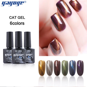 YAYOGE 6Colors 3D Bean Sand Cat Eye Gel Polish Magnetic Soak Off UV LED Polish Gel Nail Art Salon DIY A70 - YAYOGE Official