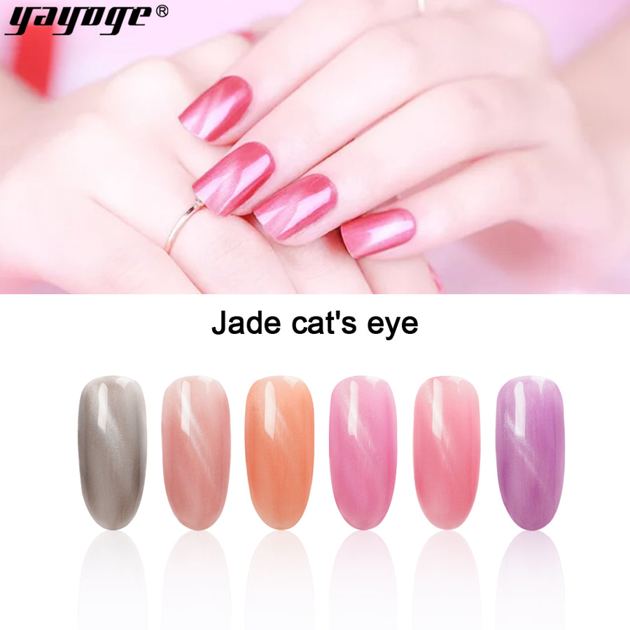 YAYOGE 10ml Pearl Jade Magnet Cat Eye Gel Glitter UV LED Nail Gel Polish Long-lasting Soak Off Nail Art Gel Polish A73