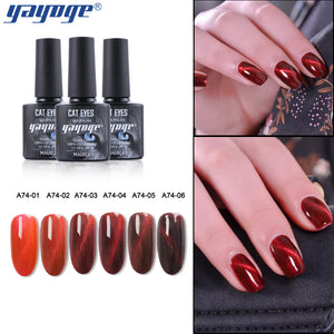 YAYOGE 6Colors Wine Red Series Magnetic Cat Eye Gel Polish UV LED Soak Off Nail Gel Art Salon - YAYOGE Official