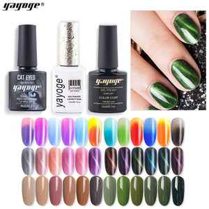 Soak Off Cat Eye Gel + Color Gel + Temperature Changing Gel Set UV