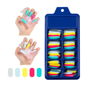 100 PCS Solid Color Wearable Artificial Nail in 10 Sizes Suitable For All Nail Sizes