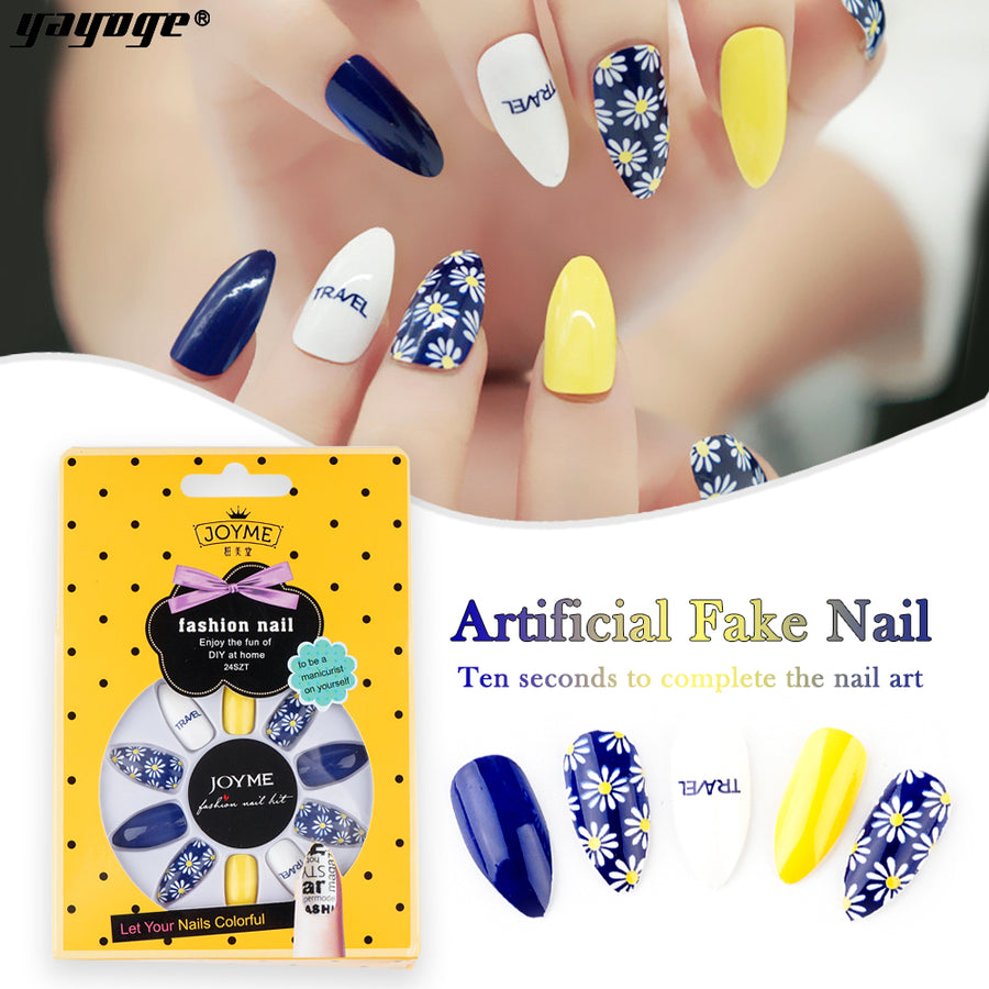 24Pcs Nail Tips with Glue Set JM